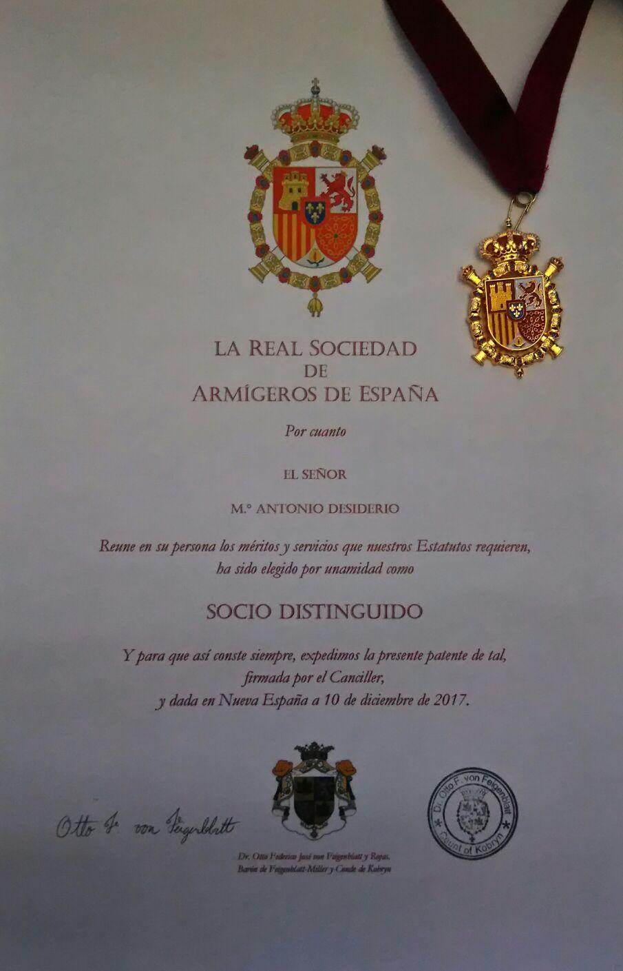 ANTONIO DESIDERIO DIVENTA SOCIO DISTINGUIDO IN SPAGNA