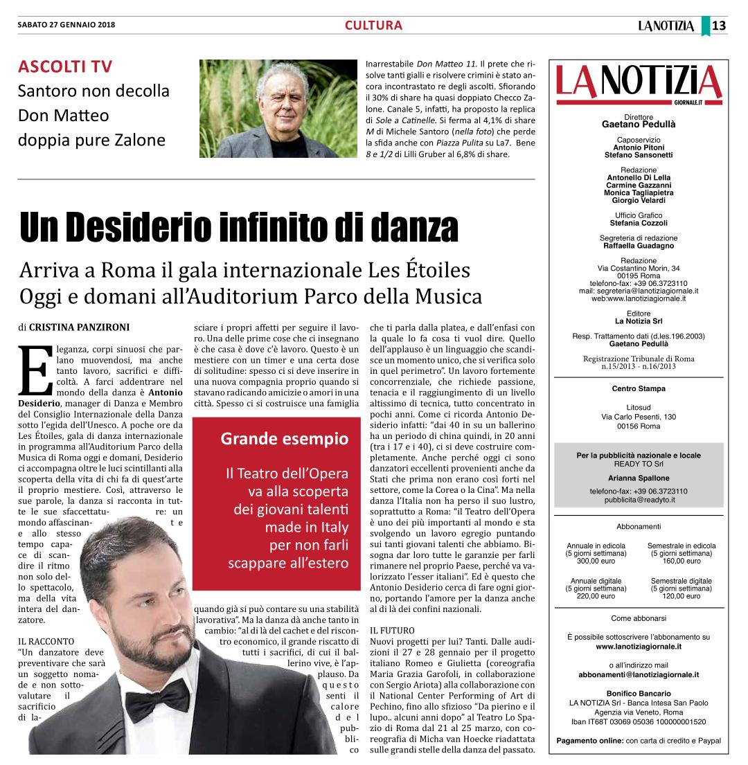 "INTERVISTA AL QUOTIDIANO ""LA NOTIZIA"""