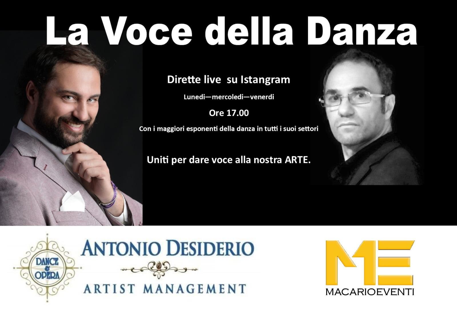 """""""LA VOCE DELLA DANZA"""", Talk show live su Instagram"""