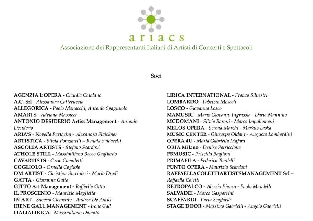 ANTONIO DESIDERIO ARTIST MANAGEMENT È NUOVO SOCIO A. R. I. A. C. S.
