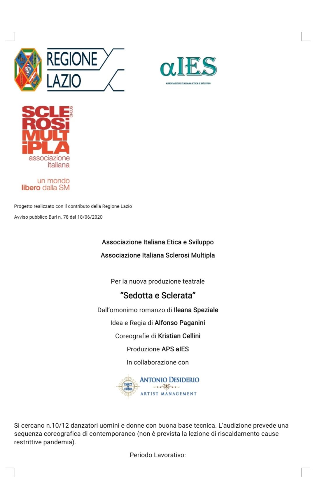 """AUDIZIONE – PRODUZIONE """"SEDOTTA E SCLERATA"""""""
