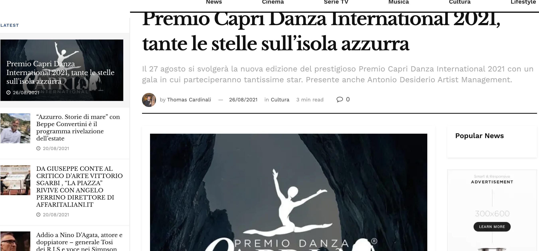 Premio Capri Danza International – TalkyMedia