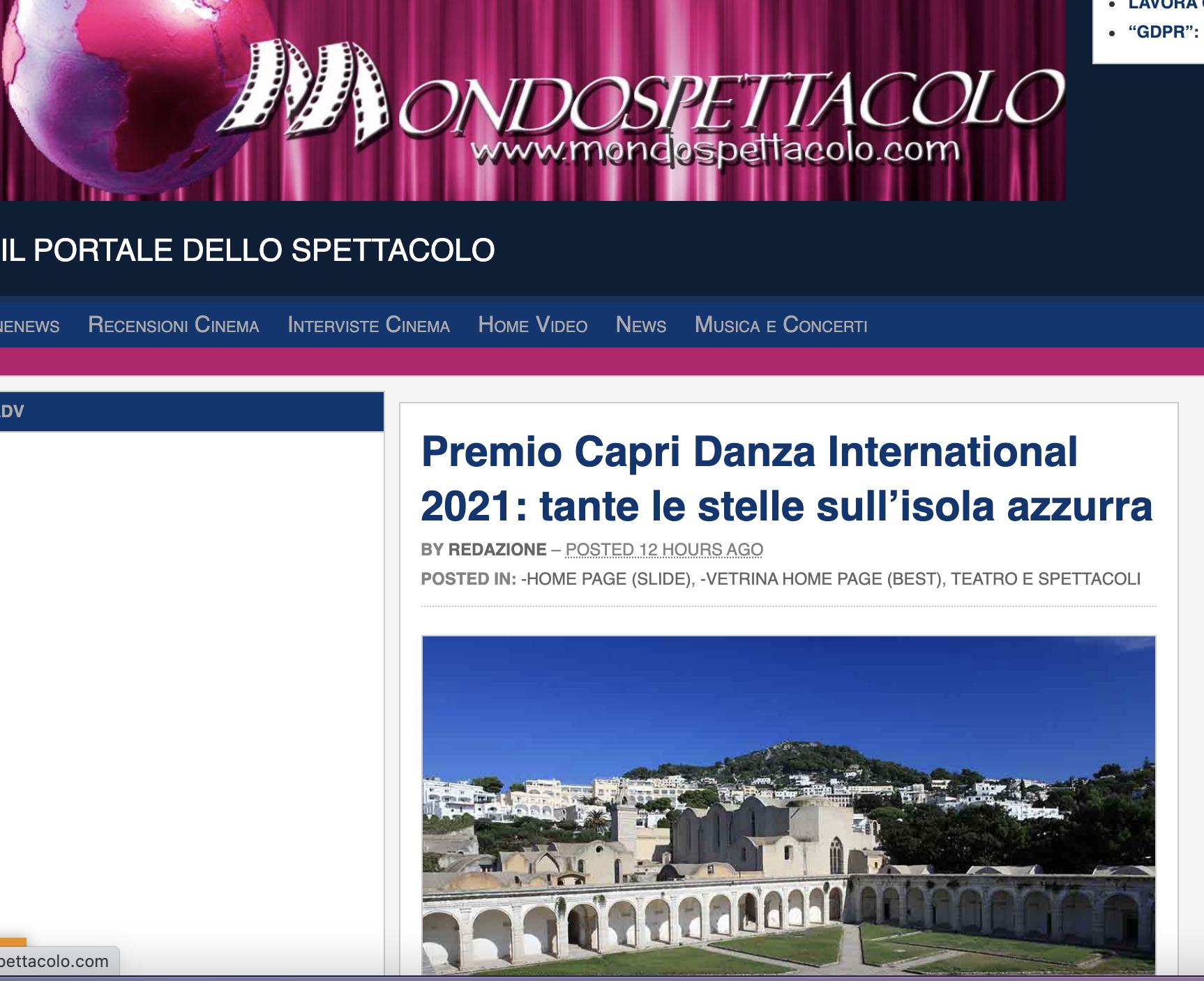 Premio Capri Danza International – MondoSpettacolo
