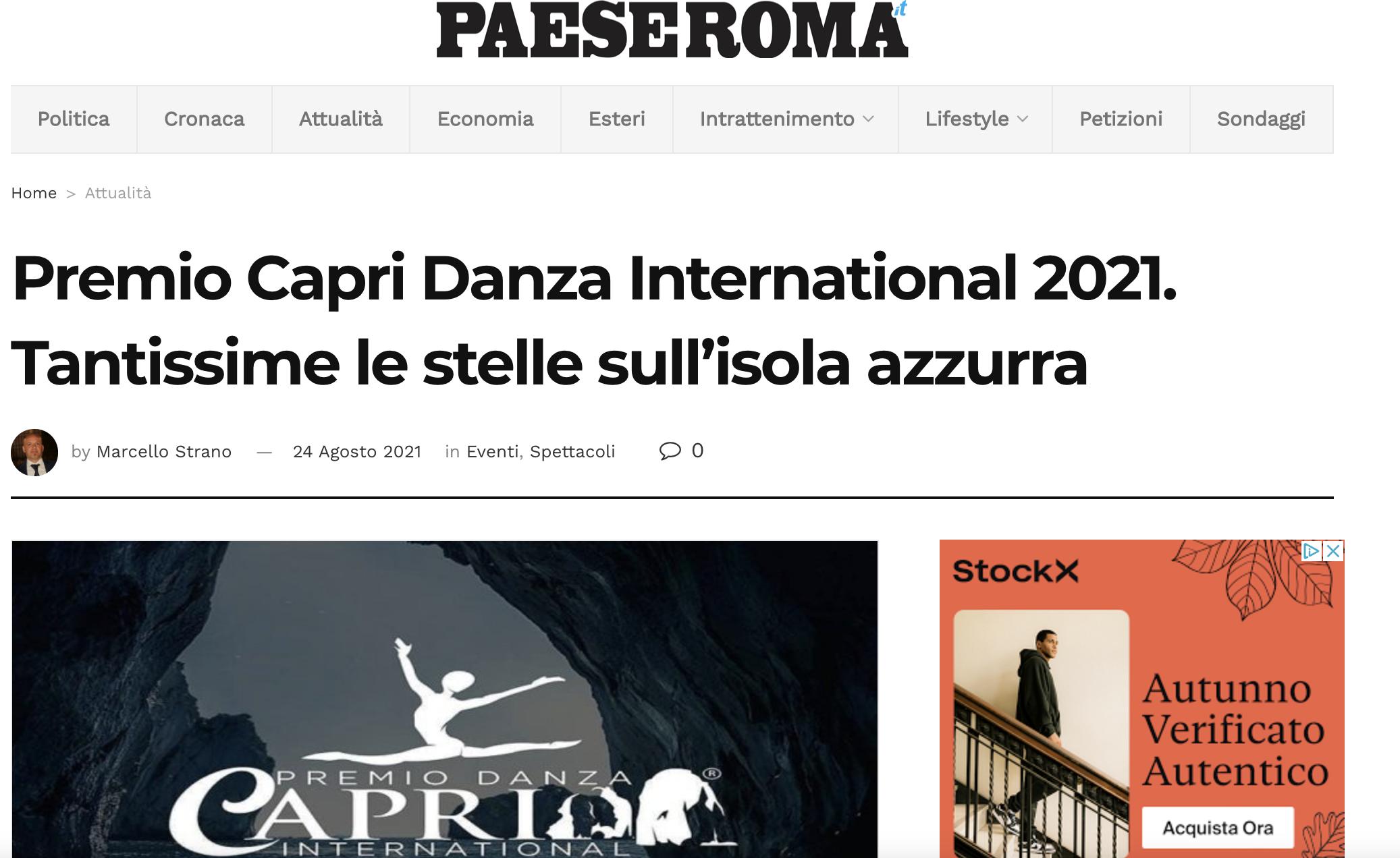 Premio Capri Danza International – Paese Roma
