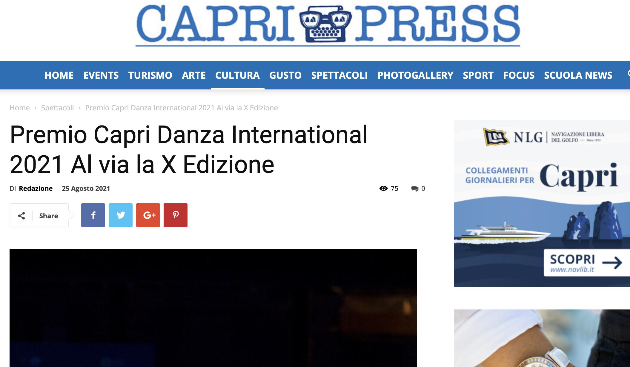 Premio Capri Danza International – Capri Press