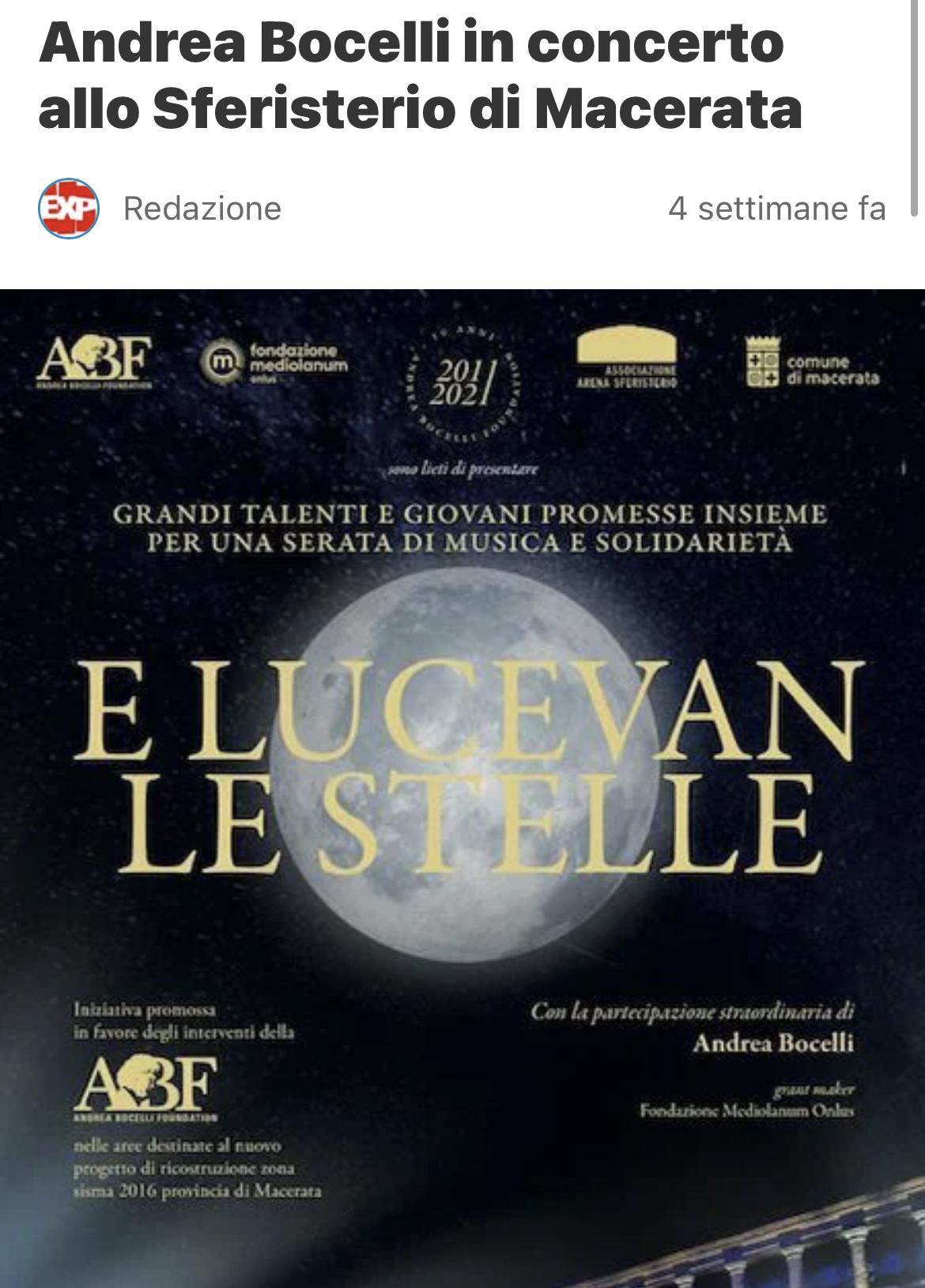 Andrea Bocelli a Macerata – Expartibus